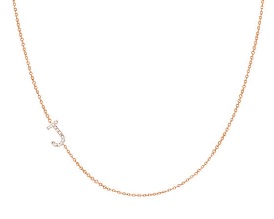 14K Gold Diamond Side Initial Necklace - Onyx and Blush  - 1