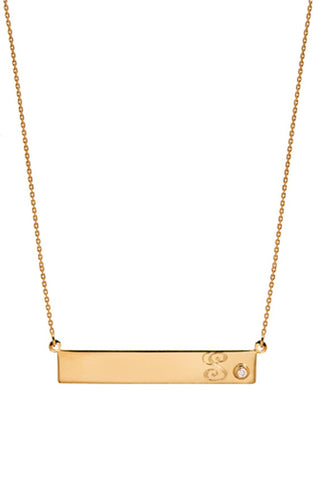 Nameplate with Single Diamond Necklace - Onyx and Blush  - 1