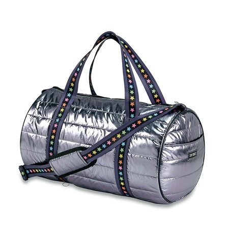 Gunmetal Puffer Duffle with Multi Stars