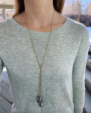 Gold Bezel and Pearl Necklace