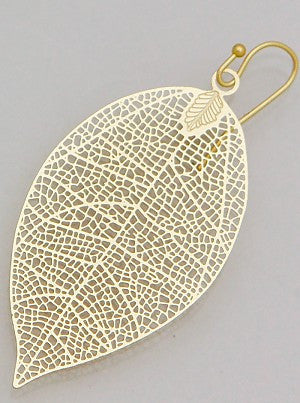Patina Filigree Leaf Earrings - Onyx and Blush  - 4