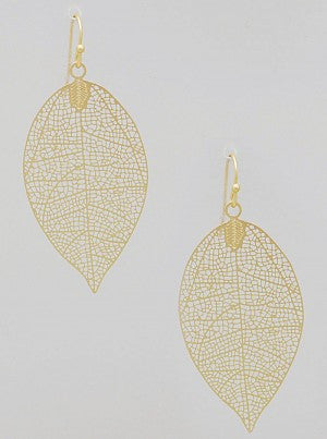 Patina Filigree Leaf Earrings - Onyx and Blush  - 3