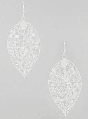 Patina Filigree Leaf Earrings - Onyx and Blush  - 2