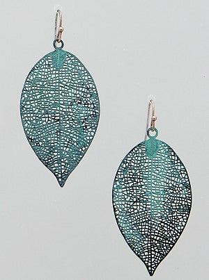 Patina Filigree Leaf Earrings - Onyx and Blush  - 1
