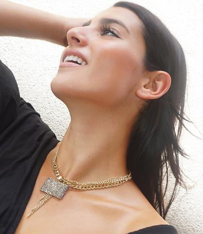 Pave Chain Statement Necklace by Marlyn Schiff