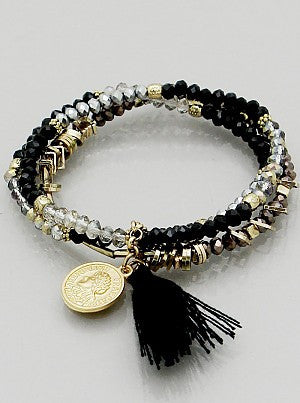 Beaded Bracelet with Coin & Tassel - Onyx and Blush
