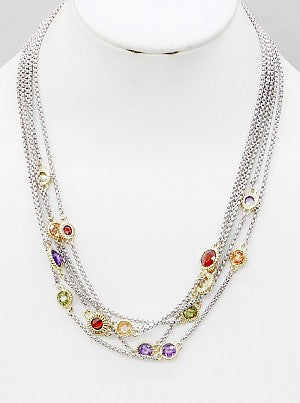 Multi Strand Color CZ Necklace - Onyx and Blush  - 1