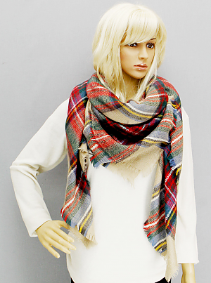 Oversized Plaid Blanket Scarf - Onyx and Blush  - 2