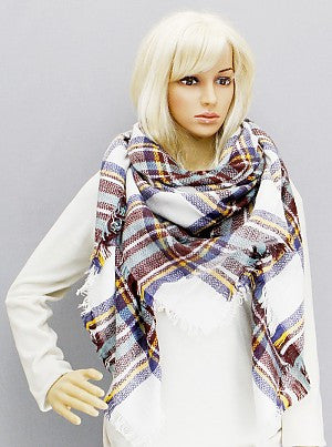 Oversized Plaid Blanket Scarf - Onyx and Blush  - 1