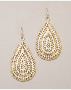 Large Gold/Pave Tear Drops - Onyx and Blush