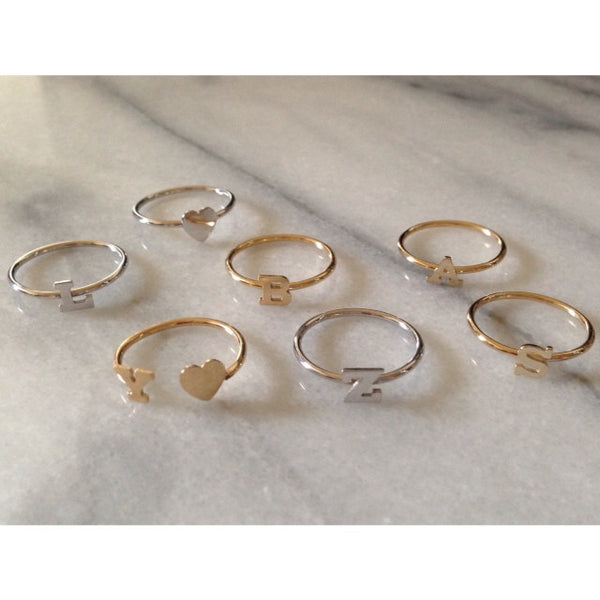 14K Gold Mixed Initial Rings - Onyx and Blush  - 3