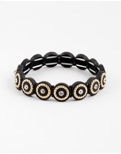Two-Toned Stretch Bracelet - Onyx and Blush  - 1