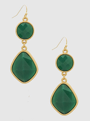 Matte Gold/Green Resin Earrings