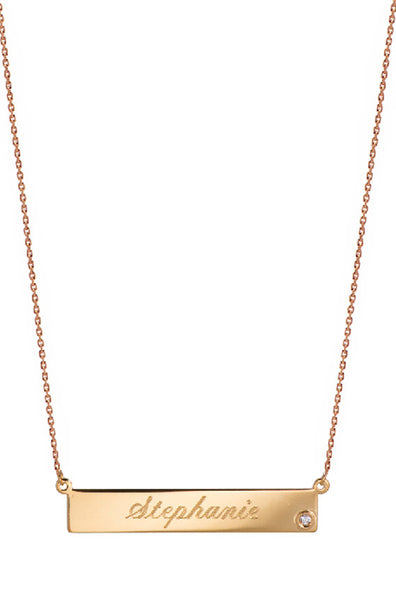 Nameplate with Single Diamond Necklace - Onyx and Blush  - 2
