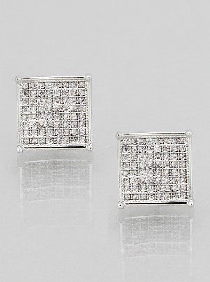 Square Pave Studs - Onyx and Blush  - 1