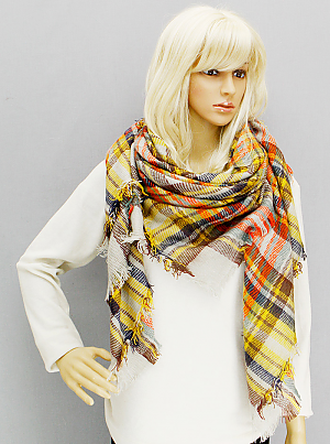 Oversized Plaid Blanket Scarf - Onyx and Blush  - 3