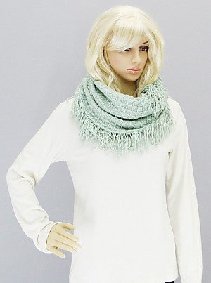 Textured Knit Infinity Scarf with Fringe - Onyx and Blush  - 2