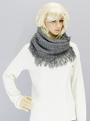 Textured Knit Infinity Scarf with Fringe - Onyx and Blush  - 1
