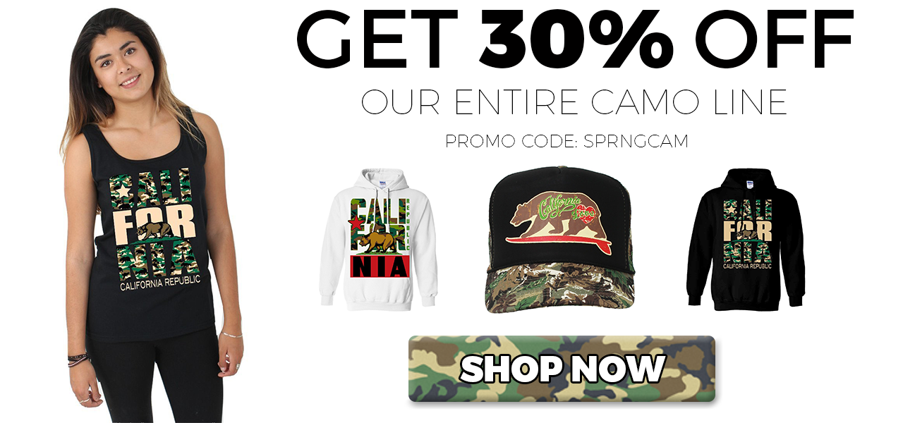 Save 30% On California Republic Camouflage Camo Sweatshirts, Hoodies, Snapbacks, and T-Shirts