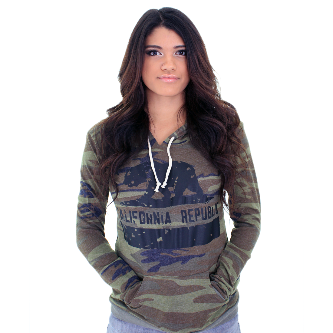 California Republic Eco Pullover Hooded Long Sleeve T-shirt - State Flag Bear Silhouette