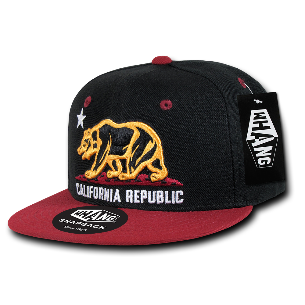 California Republic SF Style Niners Cali Bear Flag Snapback Hat by Whang