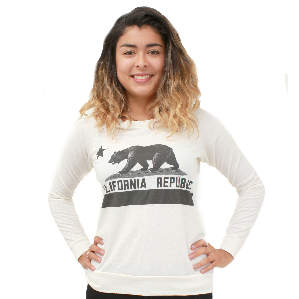 California Republic Women's Vintage California Flag Slouchy Pullover Longsleeve Shirt
