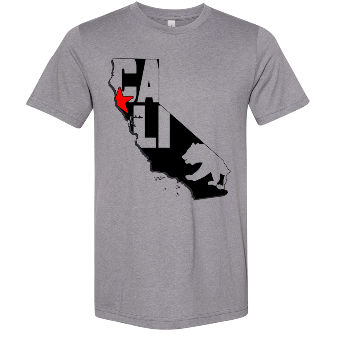 Cali Map Silhouette Outline Asst Colors Sueded Tee