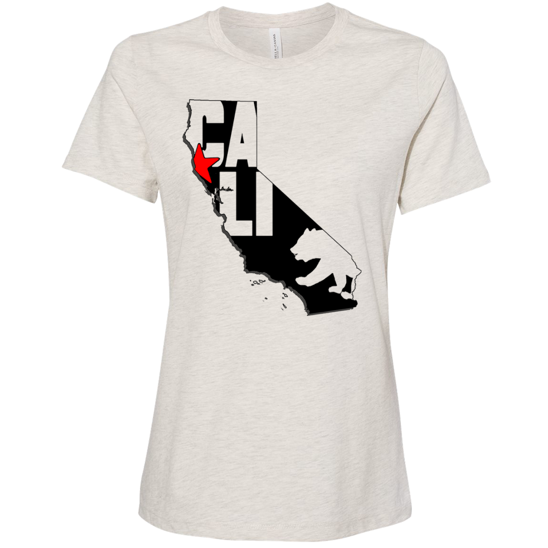 Cali Map Silhouette Outline Women's Relaxed Jersey Tee