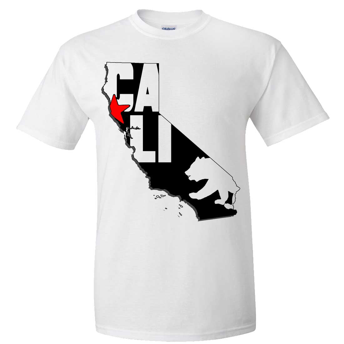 Cali Map Silhouette Outline Asst Colors T-shirt/tee