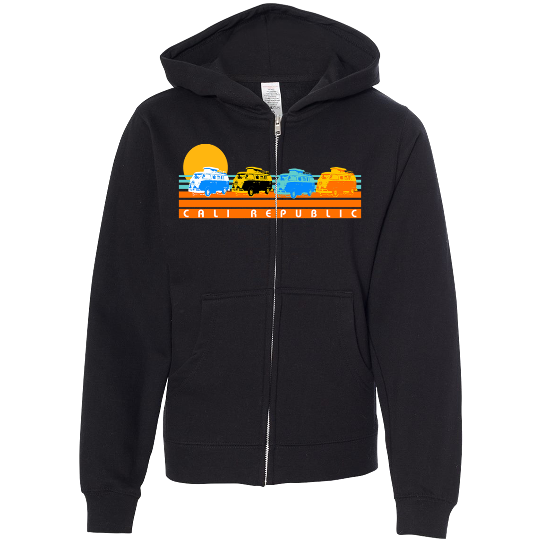 Cali Republic Vintage Van Sunset Premium Youth Zip-Up Hoodie