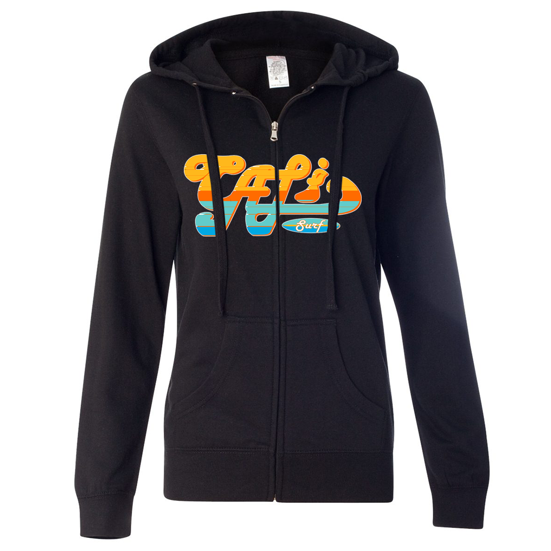 Cali Surf Ladies Lightweight Fitted Zip-Up Hoodie