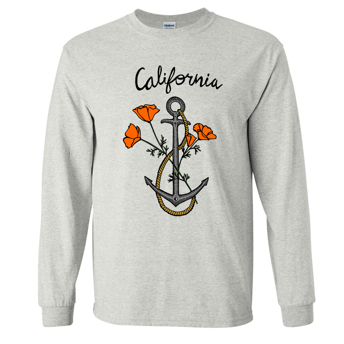 California Anchor Poppies Long Sleeve Shirt