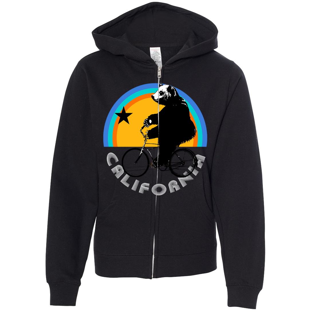 California Bear On Bike Premium Youth Zip-Up Hoodie