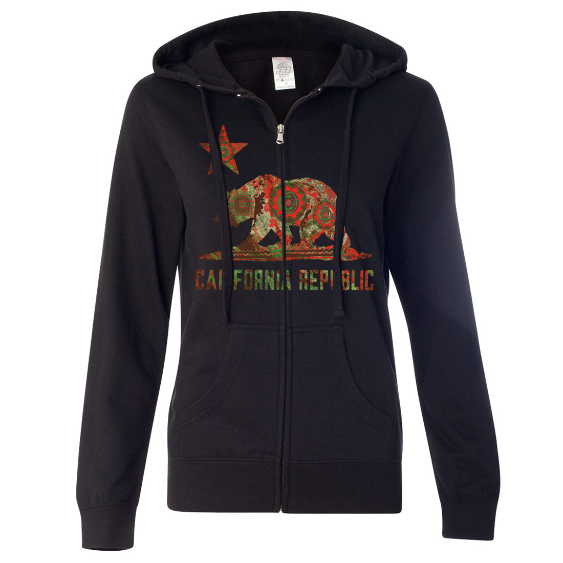 California Chumash Mandala Bear Ladies Lightweight Fitted Zip-Up Hoodie