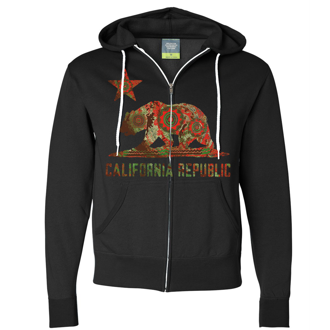 California Chumash Mandala Bear Zip-Up Hoodie