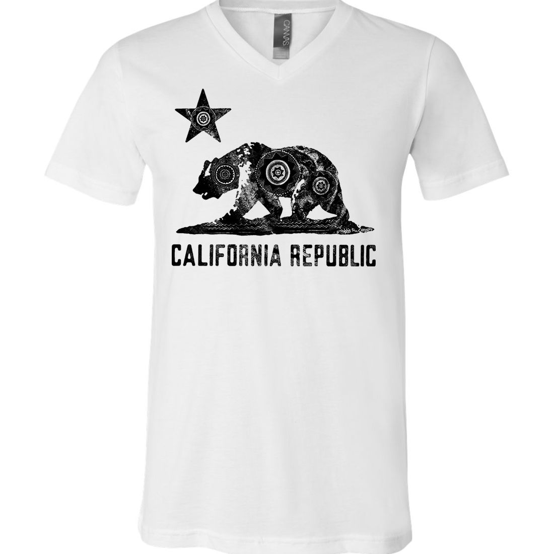 California Chumash Mandala Black Print Asst Colors V-Neck