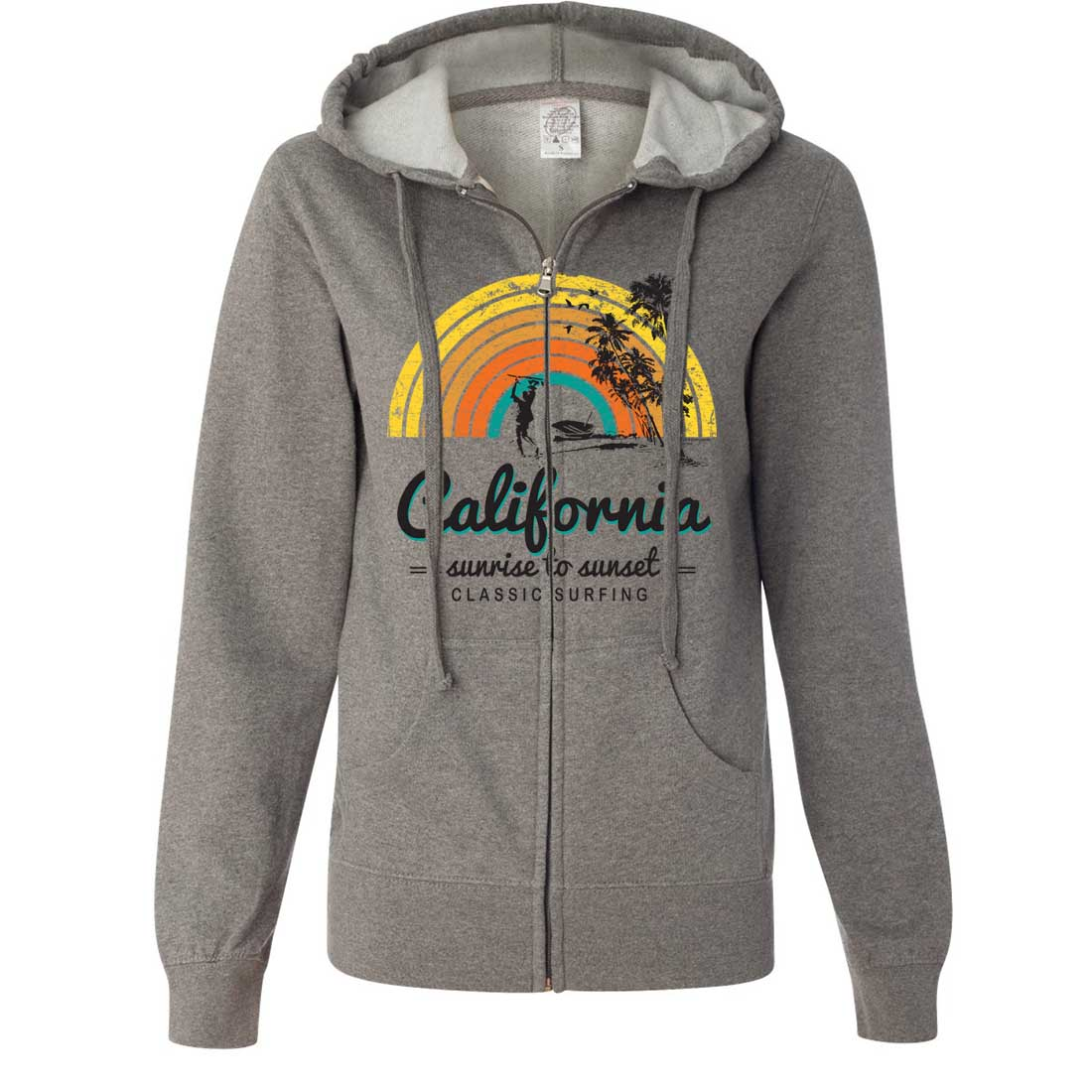 California Classic Sunrise Surfing Ladies Lightweight Fitted Zip-Up Hoodie