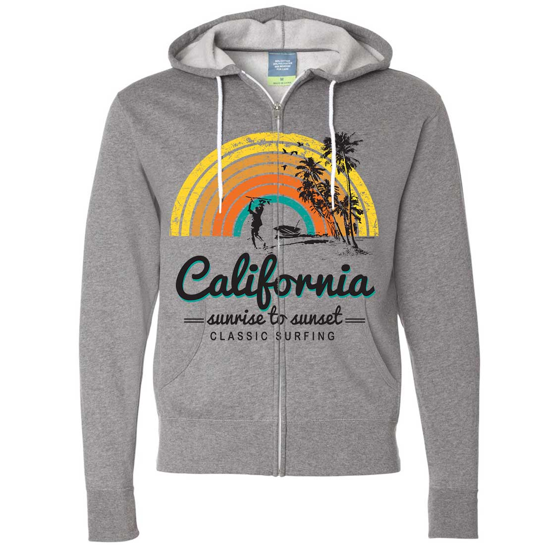 California Classic Sunrise Surfing Zip-Up Hoodie