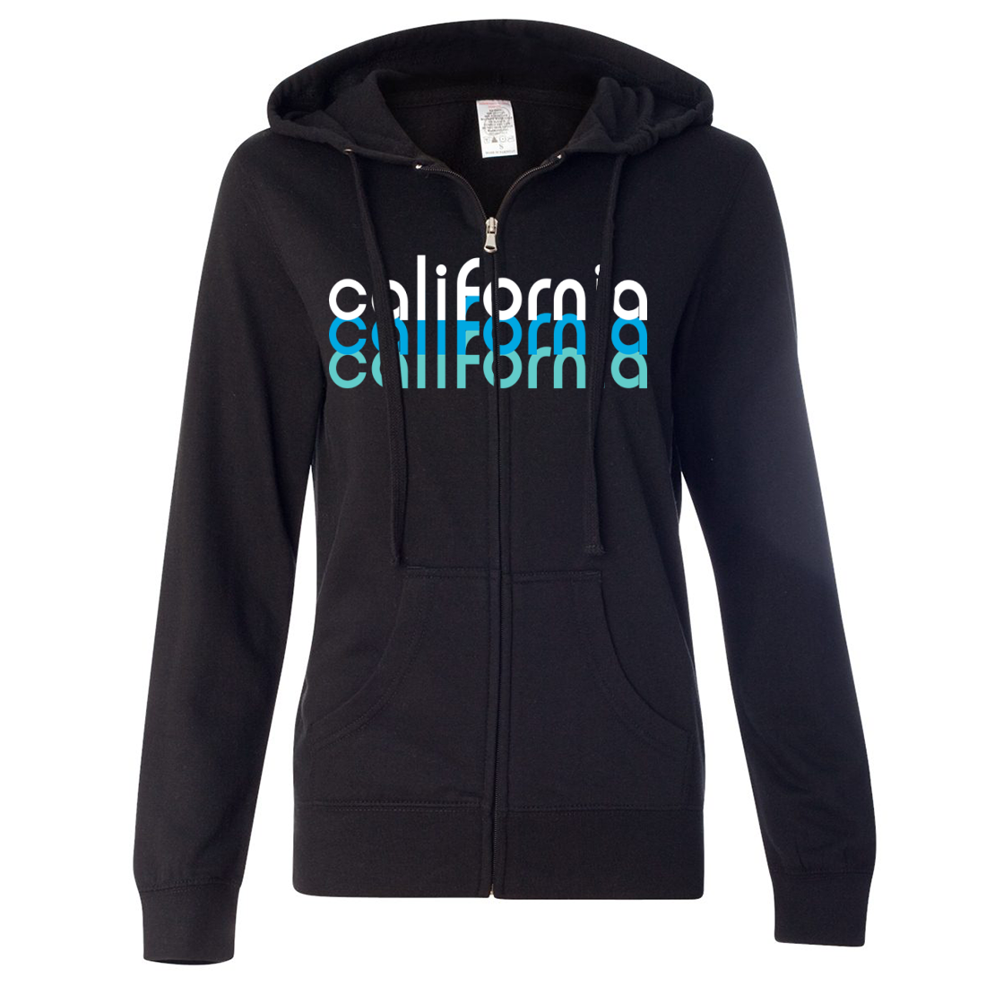 California Cool Stacked Ladies Lightweight Fitted Zip-Up Hoodie
