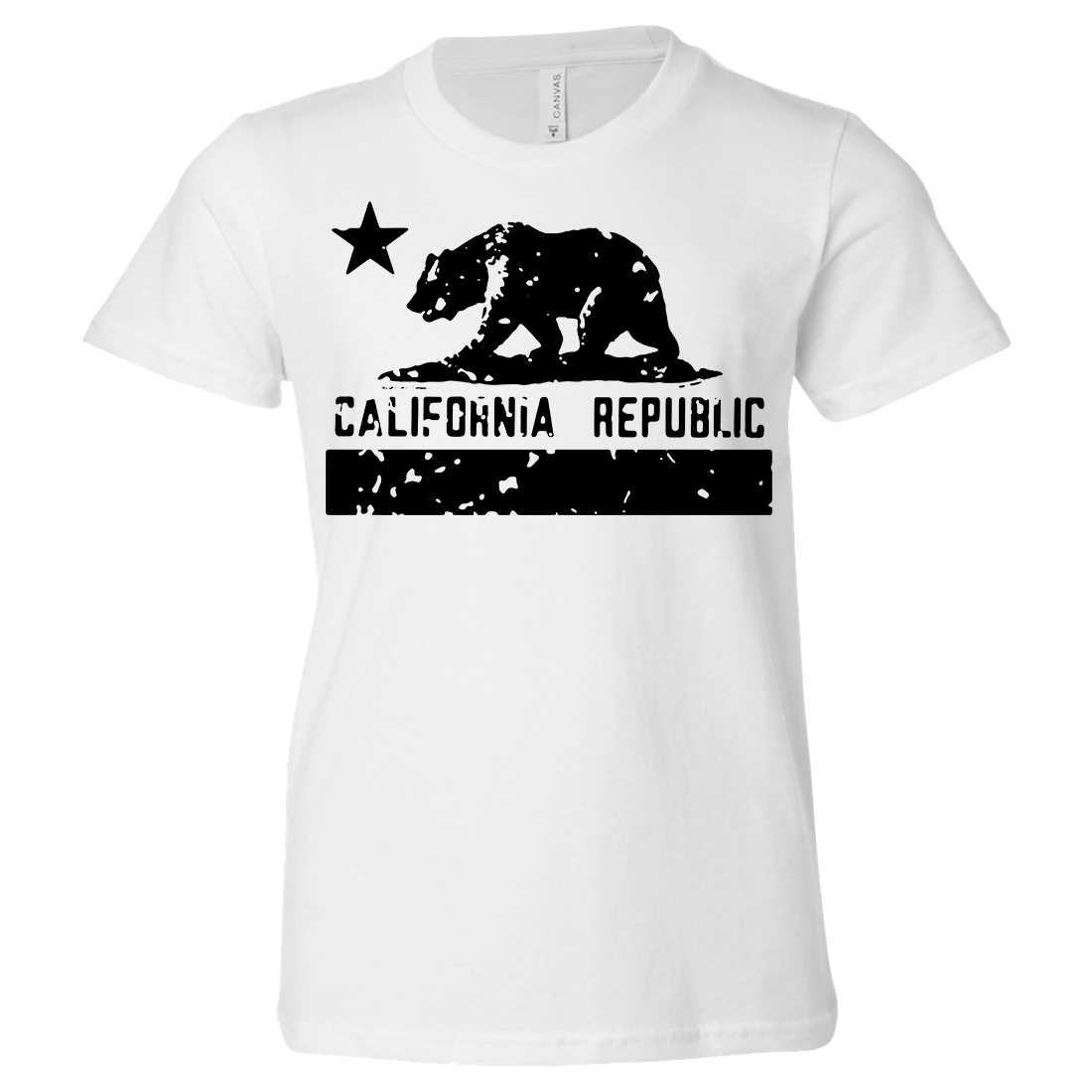 California Flag Black Print Silhouette Asst Colors Youth T-Shirt/tee