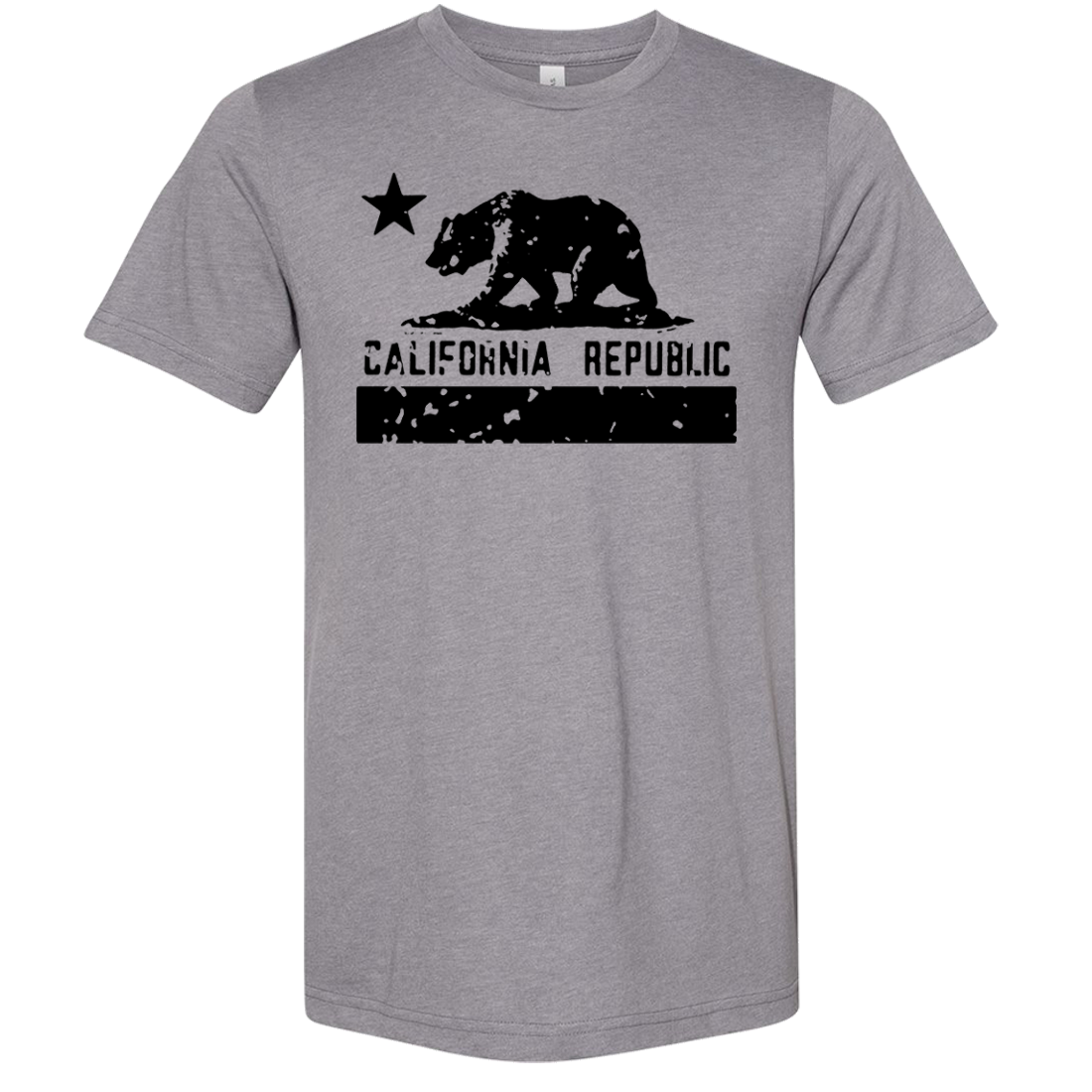 California Flag Black Print Silhouette Asst Colors Sueded Tee