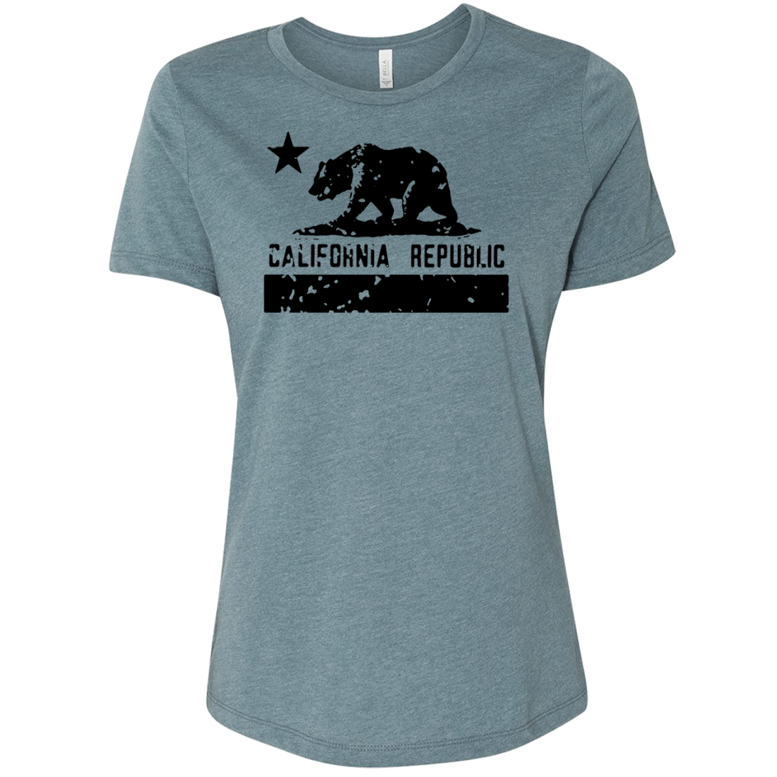 California Flag Black Print Silhouette Women's Relaxed Jersey Tee