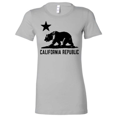 California Flag Oversize Black Silhouette Ladies Fitted T-Shirt