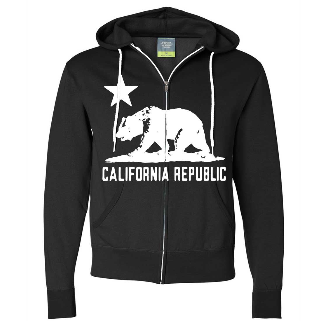 California Flag Oversize White Silhouette Zip-Up Hoodie