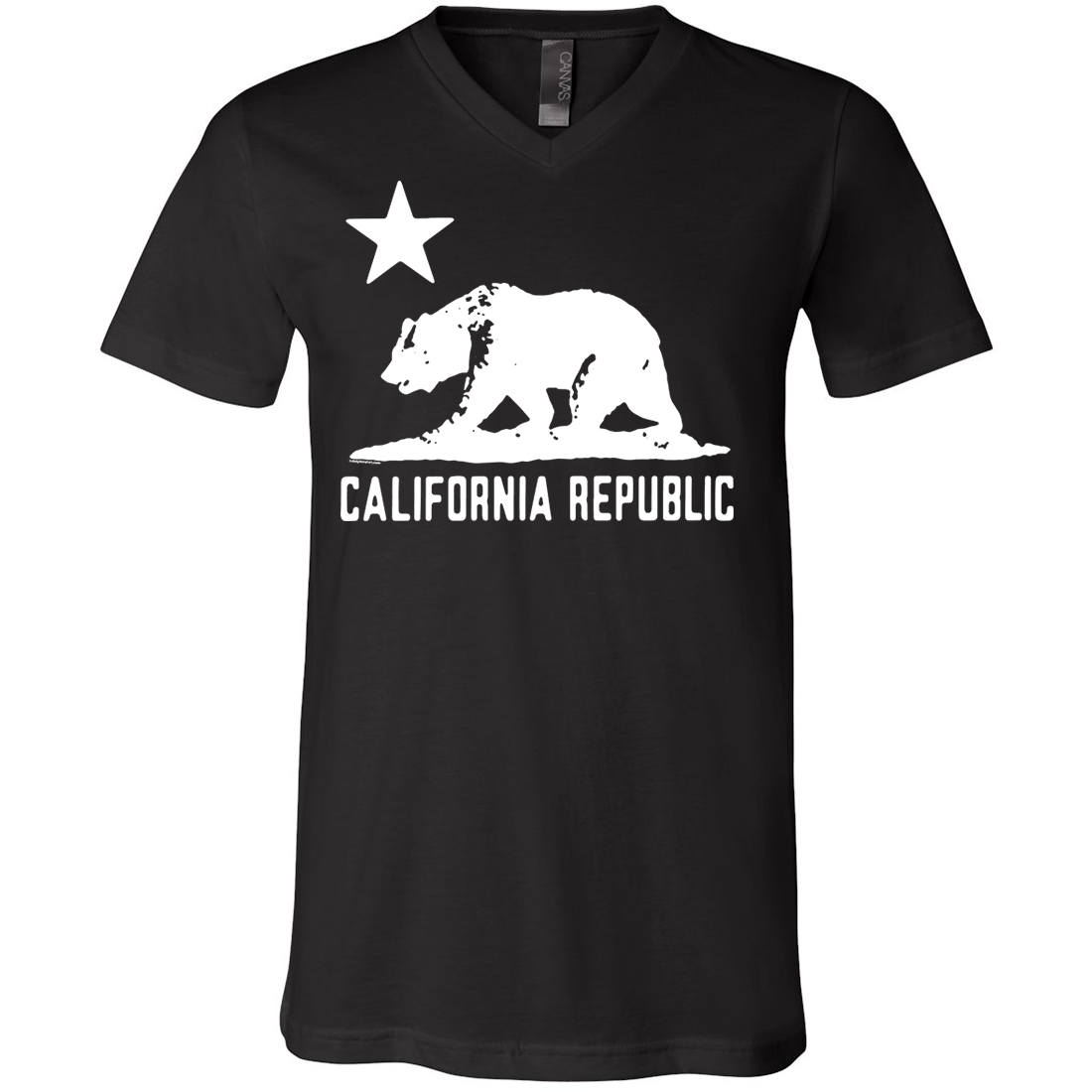 California Flag Oversize White Silhouette Asst Colors V-Neck