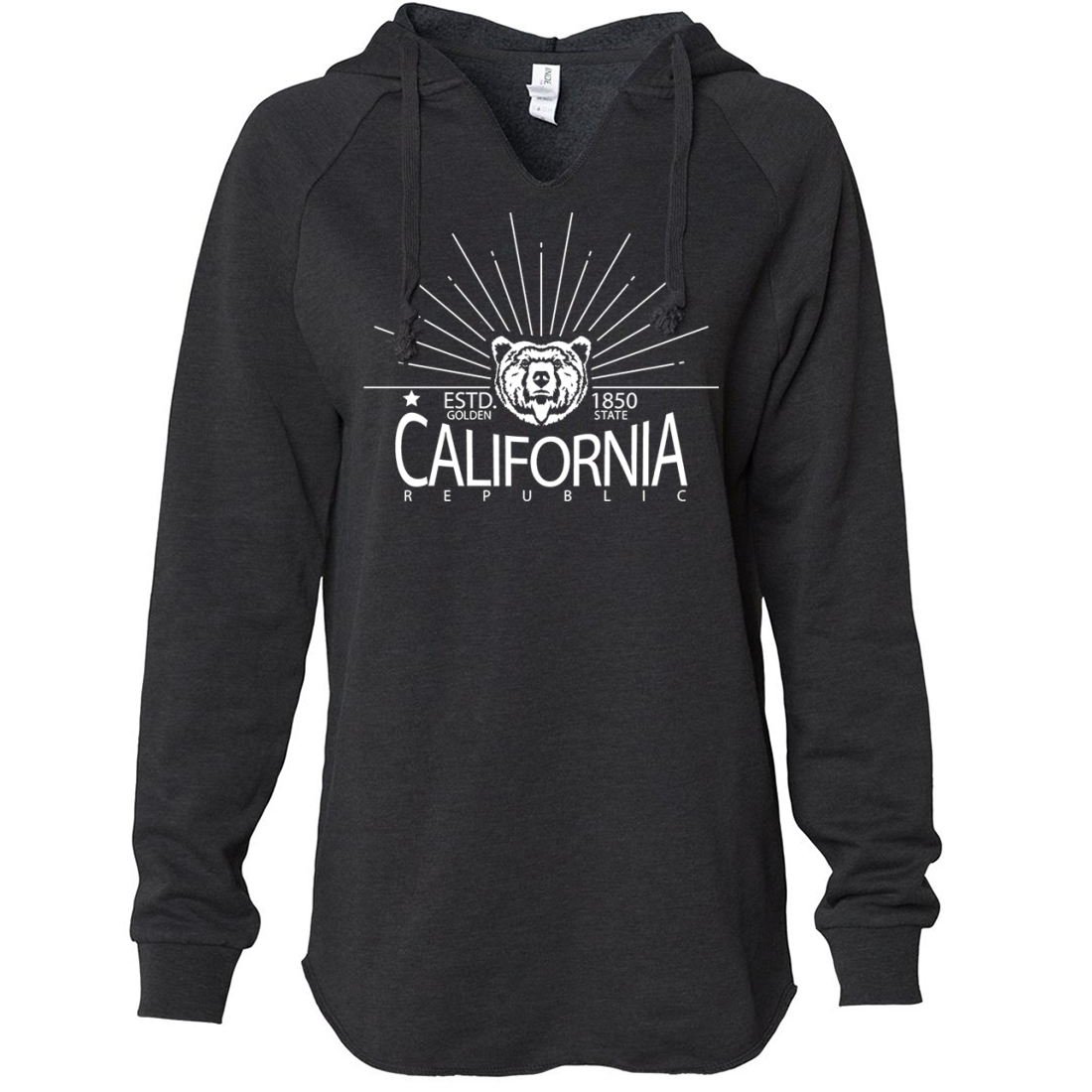 California Golden State White Print Women's Soft Hooded Pullover