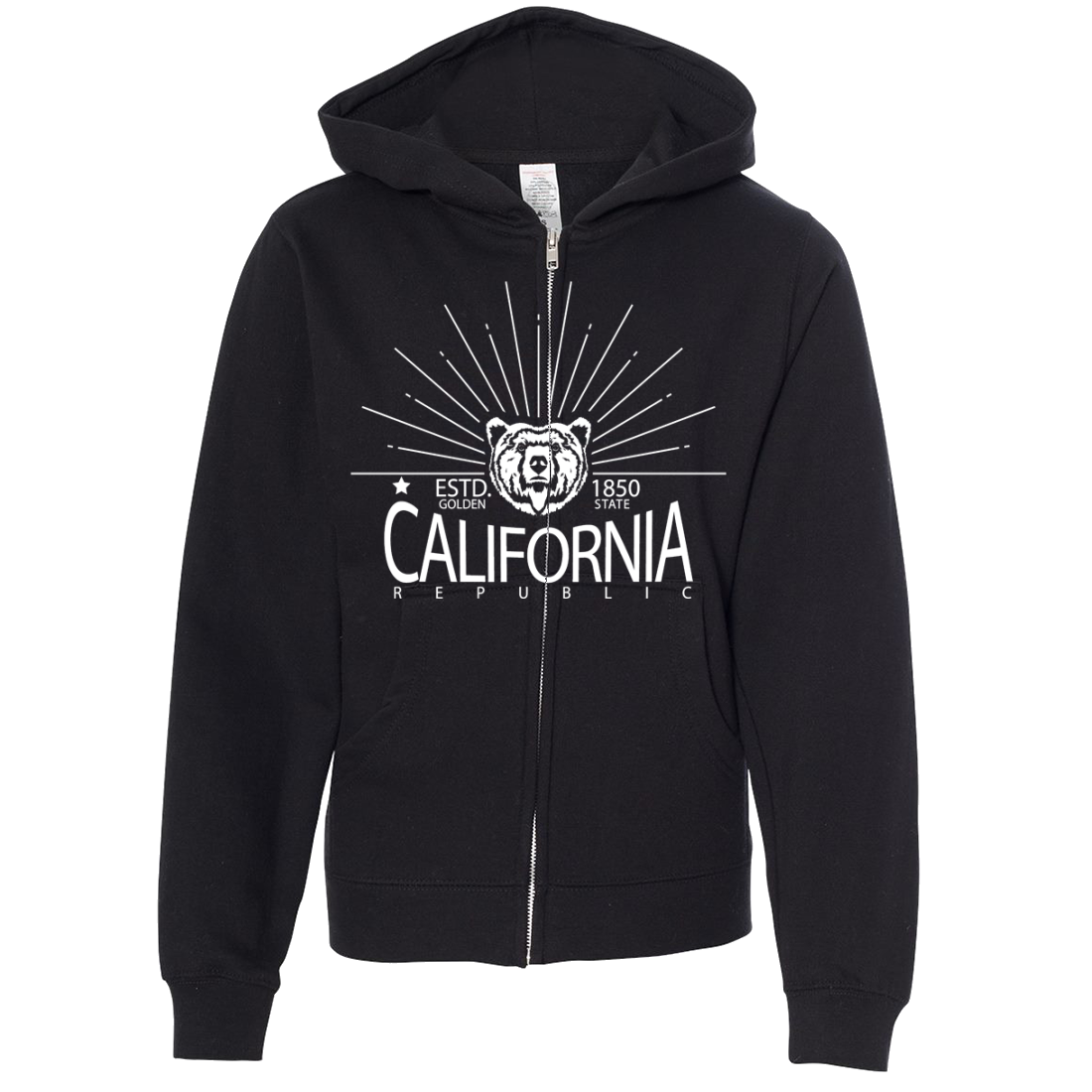 California Golden State White Print Premium Youth Zip-Up Hoodie