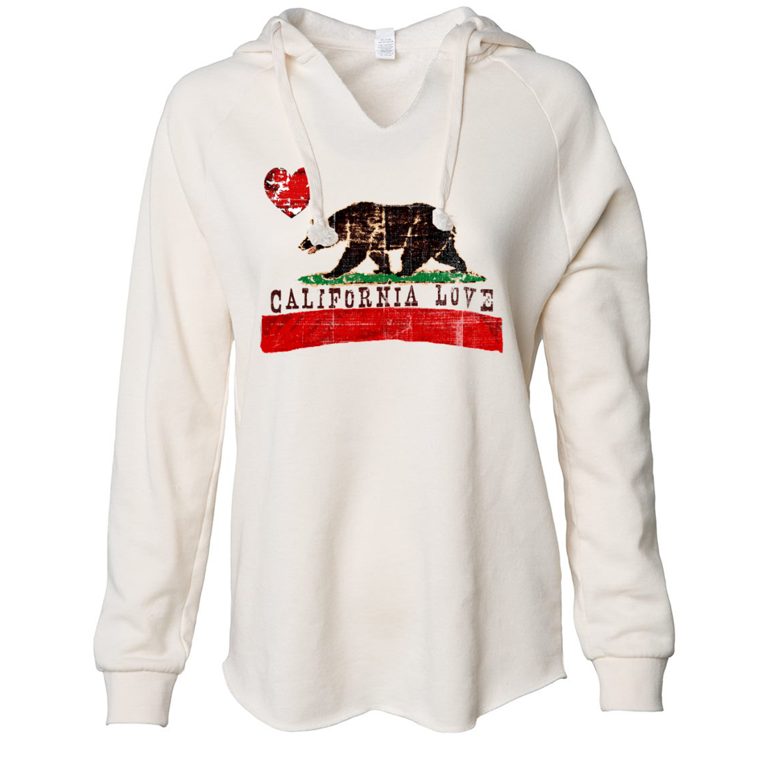 California Love Distressed Women's Soft Hooded Pullover