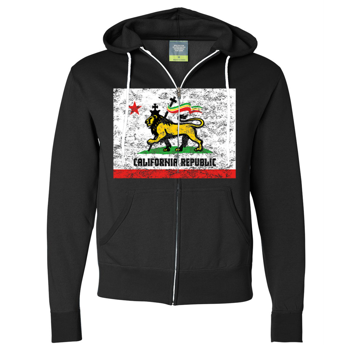 California Rasta Lion Flag Zip-Up Hoodie