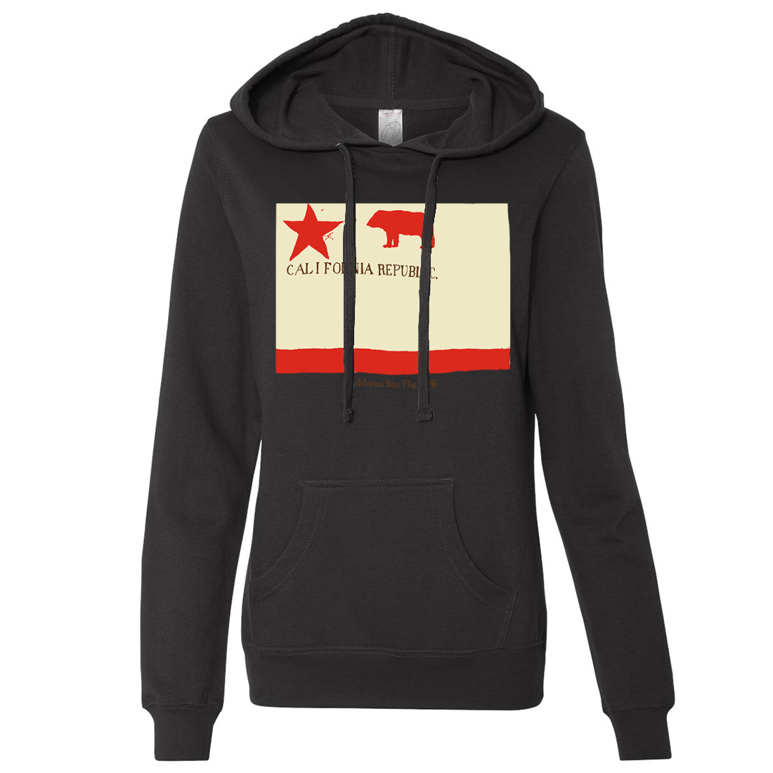 California Republic Bear Flag 1846 Ladies Lightweight Fitted Hoodie
